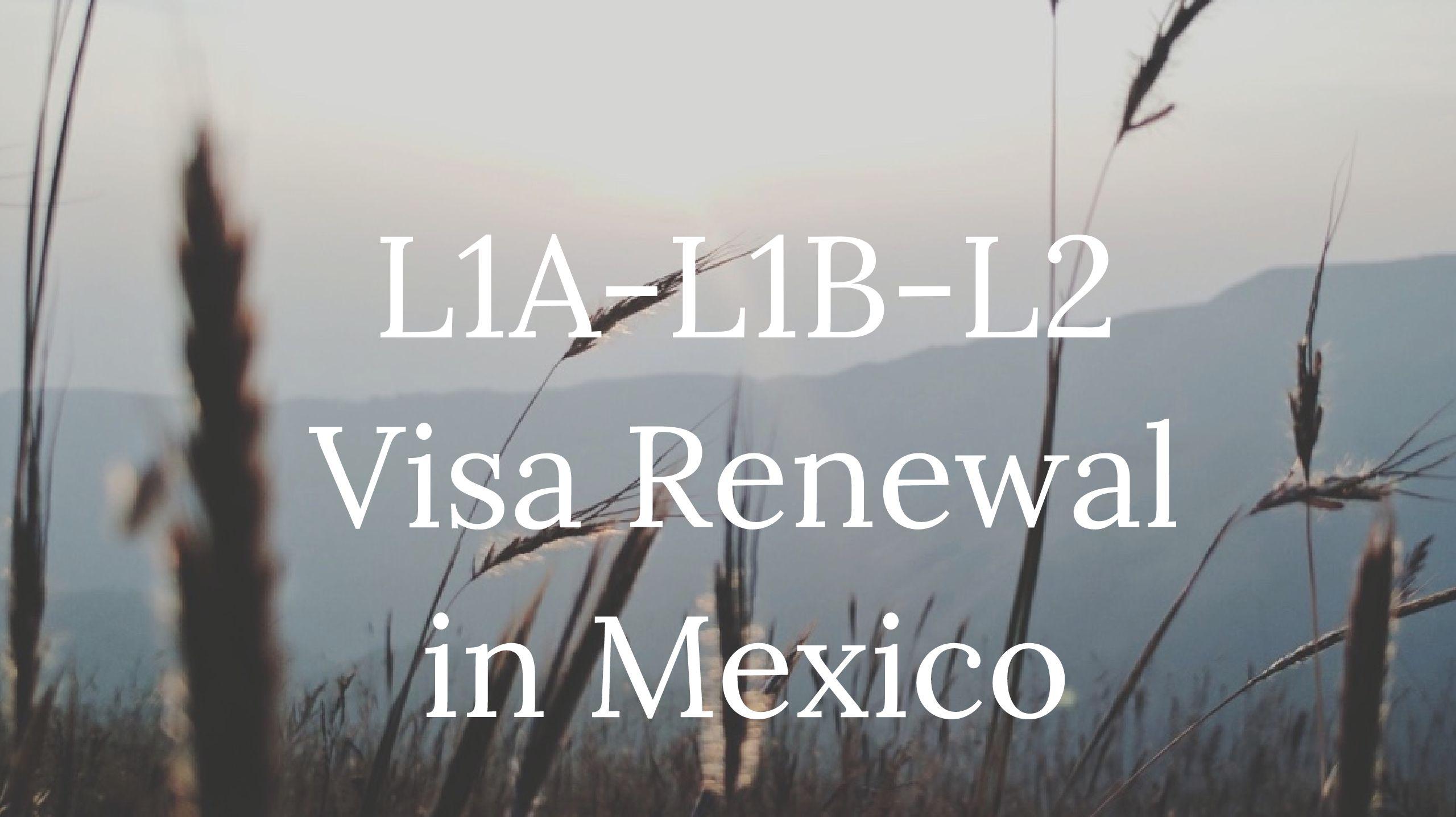 L1A - L1B - L2 Visa Renewal Interview Stamping in Mexico