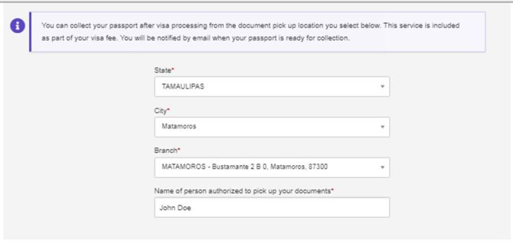 DHL Passport Pickup Delivery location in Matamoros Mexico