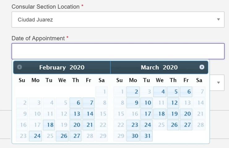 Current visa dates availability in Ciudad Juarez Mexico