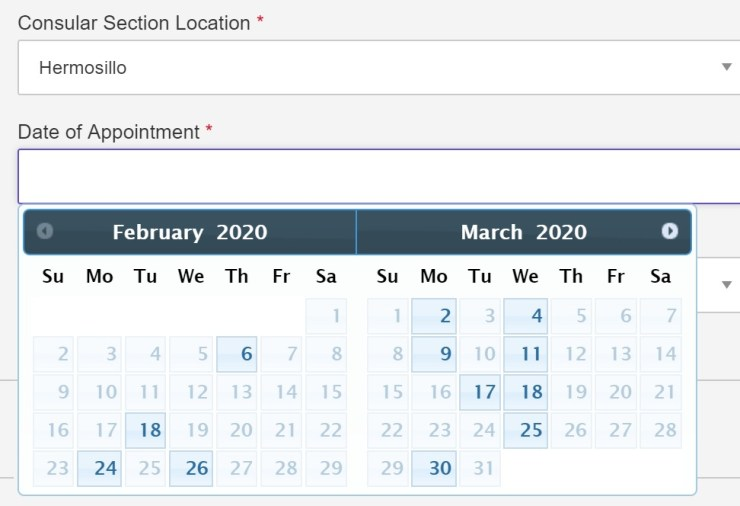 Current visa dates availability in Hermosillo Mexico