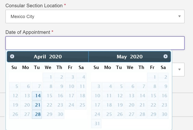 Current visa dates availability in Mexico City Mexico
