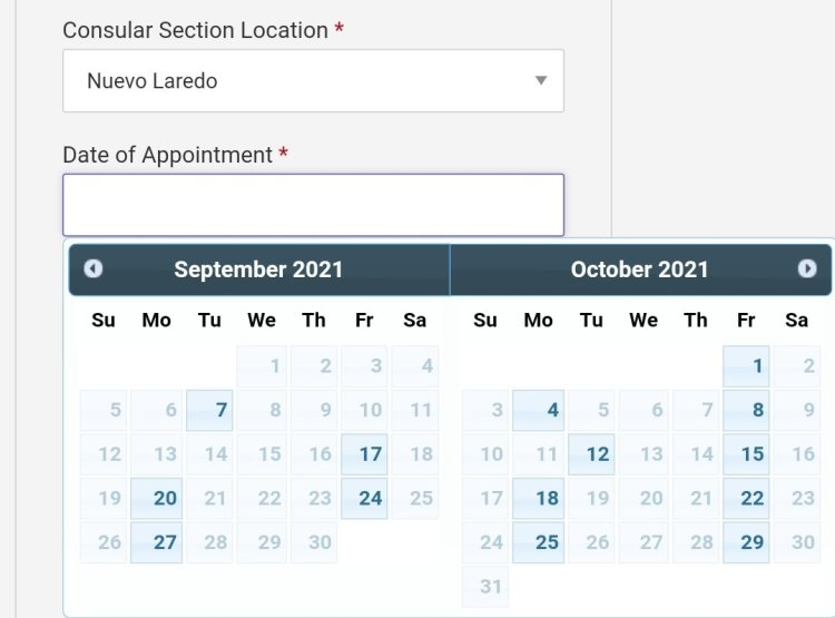 Current Visa Appointment Interview Dates Availability in Mexico 2021 3 Mexico US Visa Stamping Visa Info H1B Appointment
