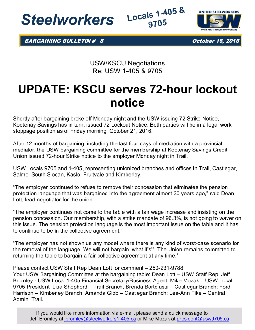 Kscu Replies To Union With 72 Hr Lockout Notice Usw 9705