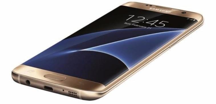 samsung galaxy s7 edge gold angled