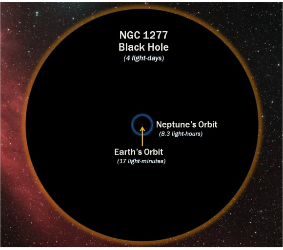 How the diamater of the black hole compares with the orbit of Neptune (D. Benningfield/K. Gebhardt/StarDate)