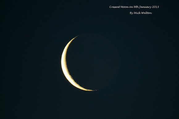 The crescent Moon taken at sunrise on  January 9, 2013 from Carmyllie, Scotland. Credit and copyright: Mike Walton.