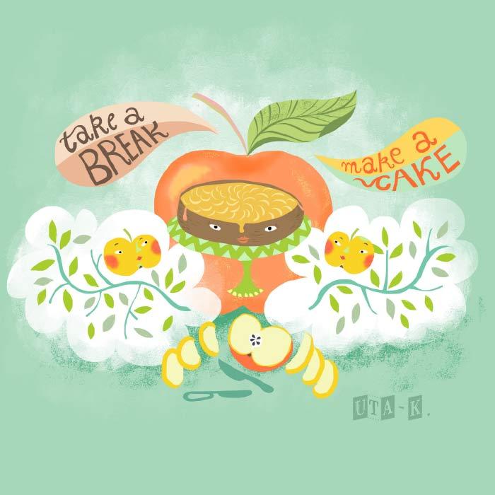 aepfel und apfelkuchen mit text take a break make a cake