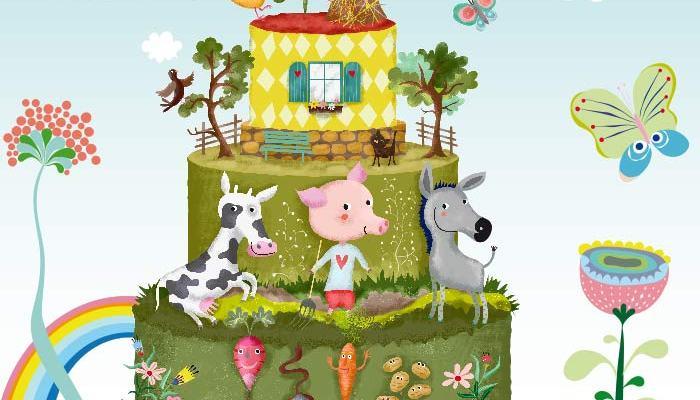 illustration funny farm as wedding cake by uta-k