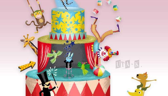 lustige Zirkusszene als Hochzeitstorte
