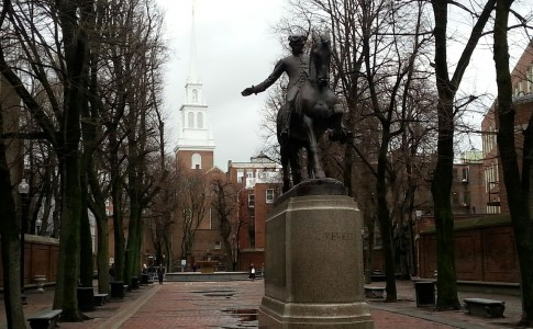 Paul Revere statue with Old North Church in the background; Boston's North End neighborhood.
