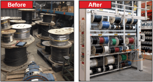 Motorized Wire Spool Vertical Carousel- Before and After