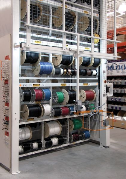 Motorized Wire Spool Vertical Carousel in Warehouse