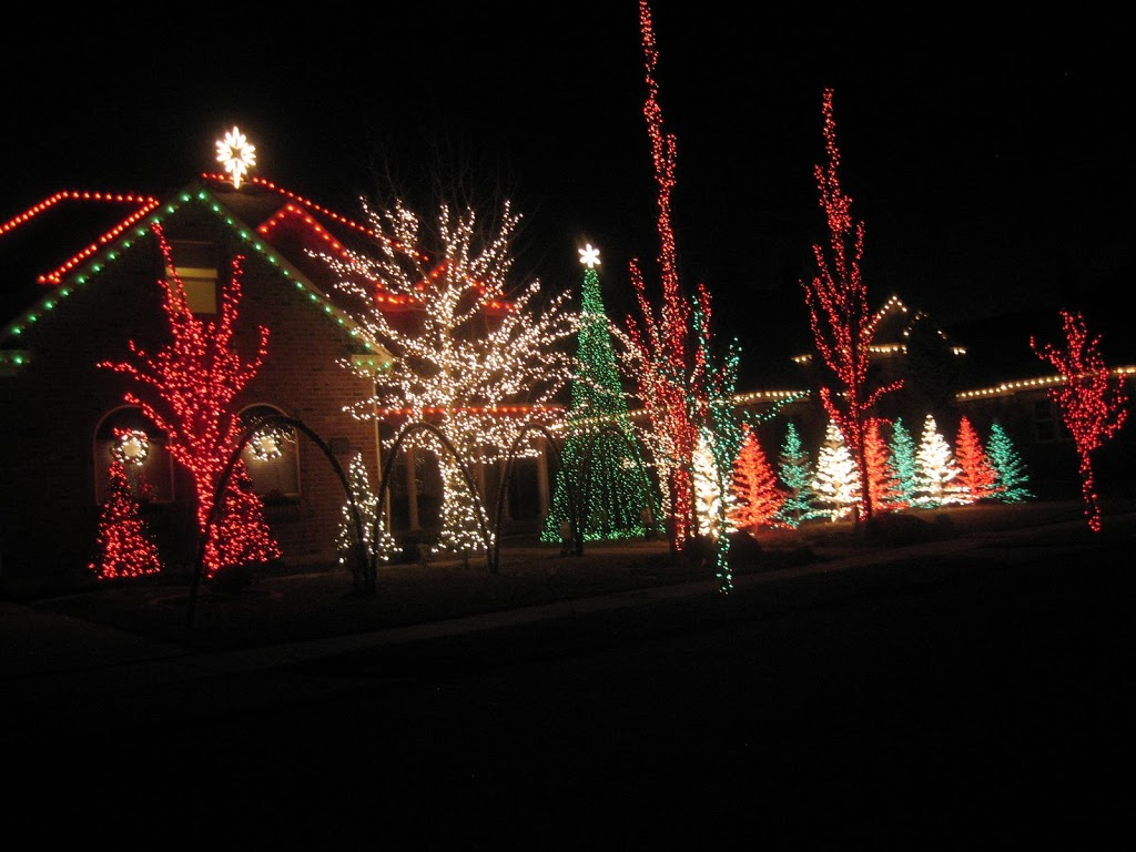 Here are a few pictures of the lights and our family watching them.