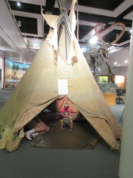 We had fun sitting in the tipi and pretending to live there.