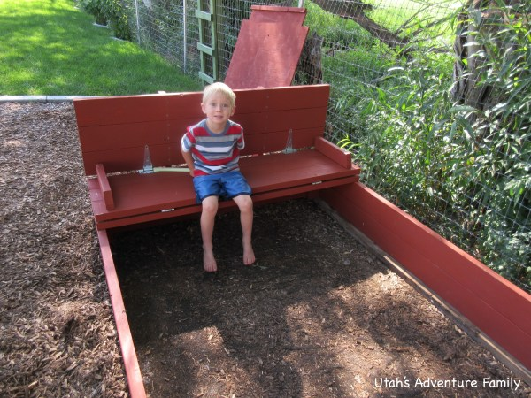 The finished sandbox: But where's the sand, Dad?