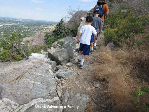 You will cross over a large rock fall area and then you will start to climb up again!