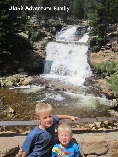 Our boys at the overlook of the first section of the Provo River Falls.