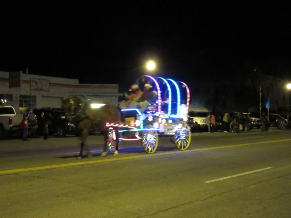 I know this picture is blurry, but I loved the cute wagon covered in lights.