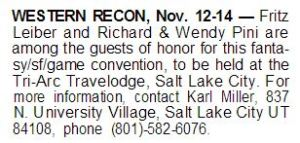 Western Recon from Dragon Magazine 'Convention Schedule' No 67 (Nov 1982) page 70