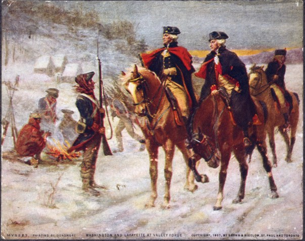 George Washington and Lafayette at Valley Forge.