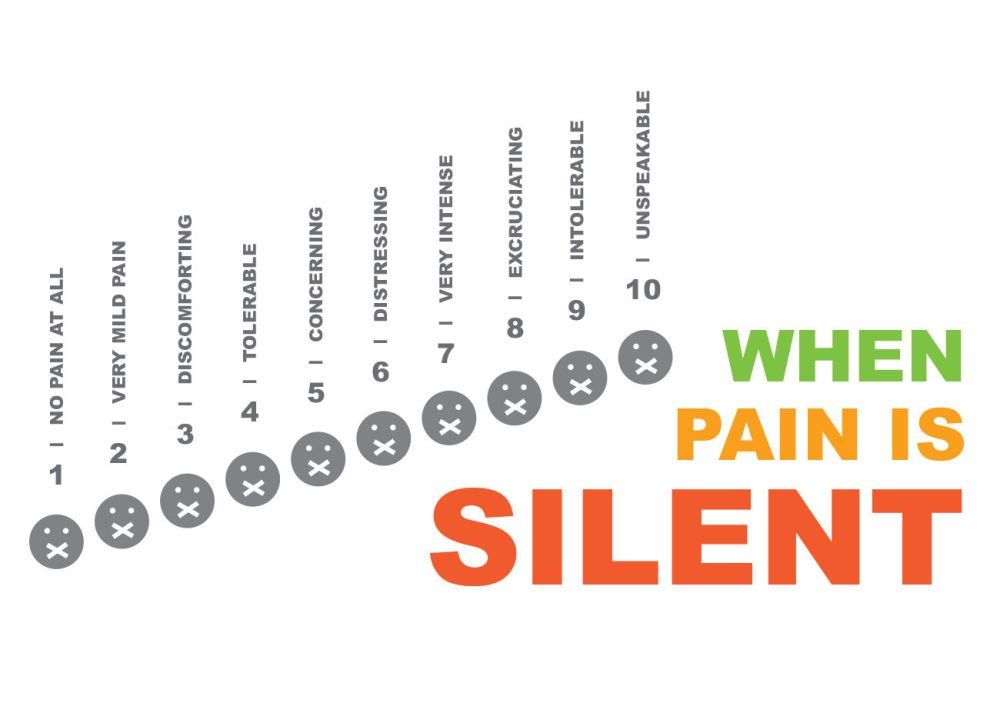 medium resolution of illustration of a modified pain scale used in hospitals featuring faces with band aids covering