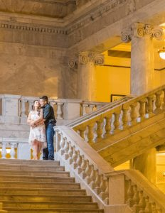 engagement shoot on steps utah state capitol