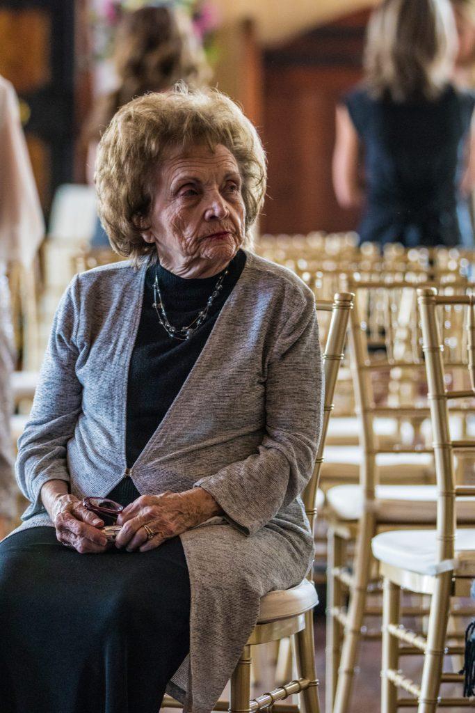 grandma waiting for wedding to start