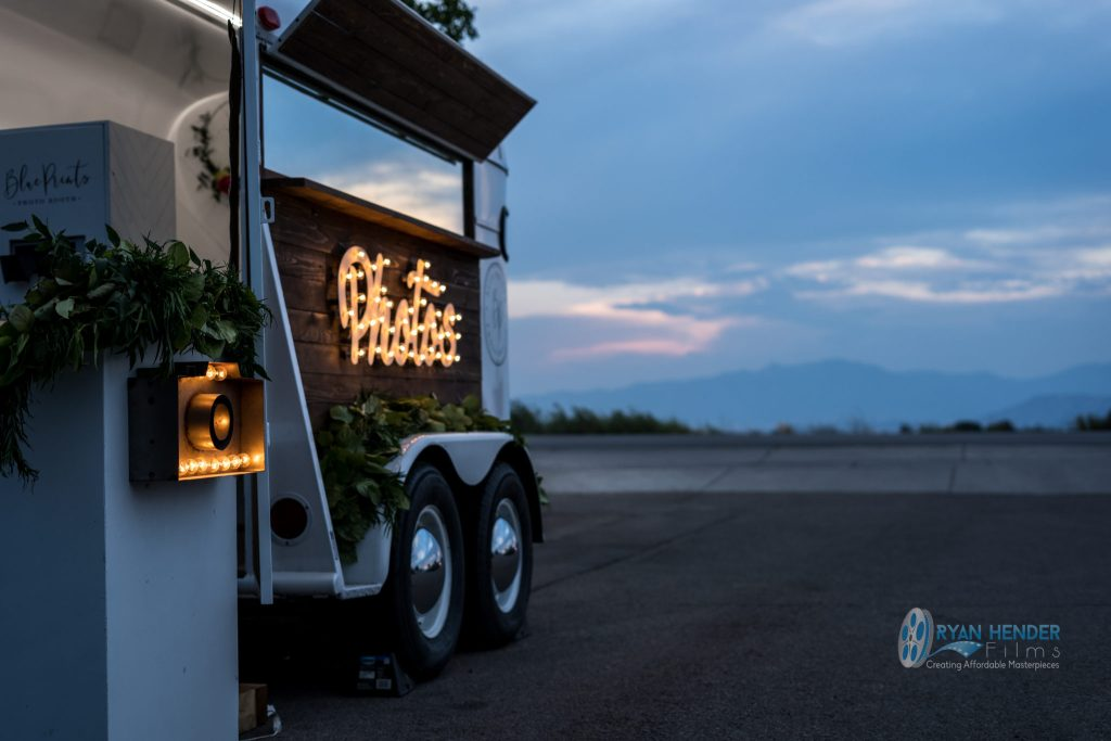 sunset photography horse trailer at wedding in utah