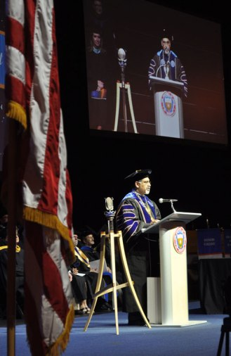 UT Arlington President Vistasp Kharbhari speaks at the May 2014 College of Liberal Arts Commencement ceremony May 9, 2014, at the College Park Center. (Photo by James Dunning)