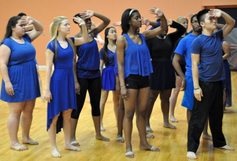 Dancers rehearse Wednesday, Nov. 25, in the Swift Center. The UTA Dance Ensemble's show runs Dec. 5-7. (Photo by James Dunning/COLA Communications)