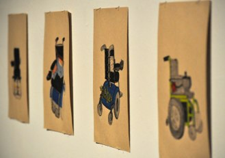 """""""Self Portrait in Wheelchairs (Age 6-32)"""" by Sunaura Taylor is included in The Gallery at UTA's latest exhibition, """"Subject: Disability."""" (Photo by James Dunning/COLA Communications)"""