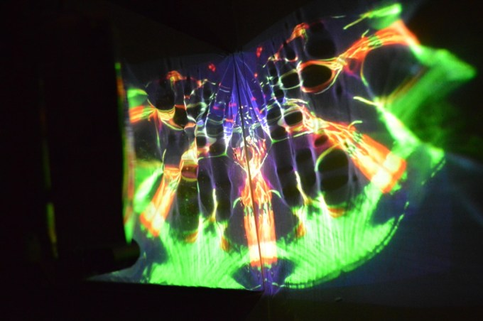 """Art and Performance senior Luke Harnden includes projected light displays as part of """"An Old Friend,"""" his exhibition in the Visual Arts Building."""
