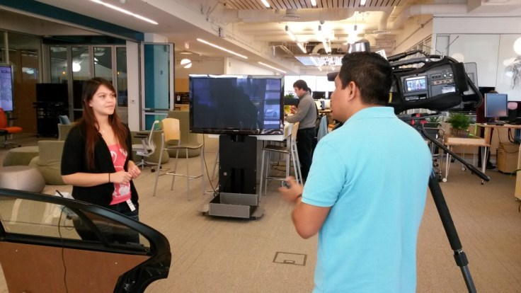 Noe Cumplido | Courtesy Dominguez displays her device during an interivew with KTXT Telemundo 39. Work on the project will take six to nine months to complete before it will be ready to be made available on the market.