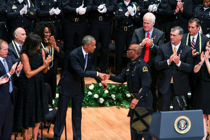 President Barack Obama shook the hand of Dallas Police Chief David Brown to thank him for his leadership in the face of tragedy when Obama visited the Morton H. Meyerson Symphony Center on July 12. (Andrew Gallegos | Photo Editor)