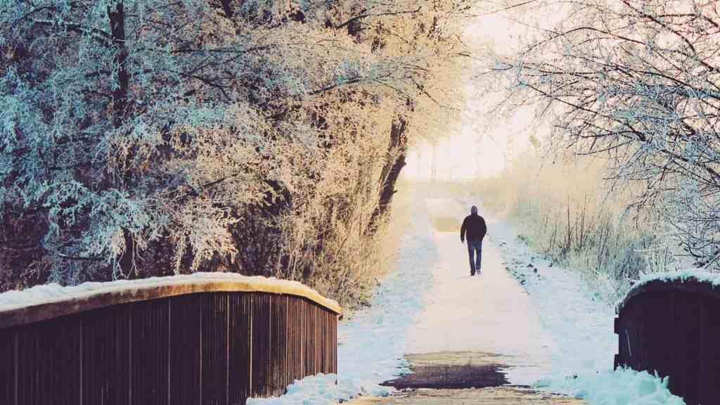 En människa som promenerar på vintern.
