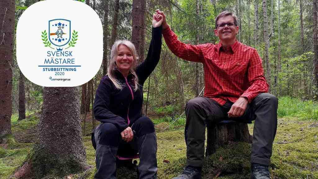 Stefan och Annelie är Svenska mästare i stubbsittning