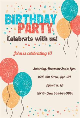 free printable birthday invitation card