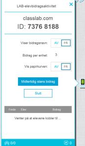 Elevene åpner nettsida classlab.com og registrerer ID nummeret og navnet sitt.