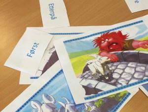 Illustrasjoner som støtte for å gjenfortelle eventyret, hjelper elevene å strukturere teksten