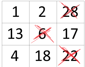 bingobrett med kryss