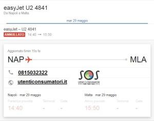 Volo Easyjet 4841 Napoli Malta cancellato