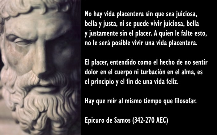 Se dice que Epicuro de Samos escribió unas 300 obras, pero son muy pocas las que han sobrevivido: apenas unas tres cartas completas, algunas recopilaciones de máximas, fragmentos aislados y menciones por parte de otros autores.
