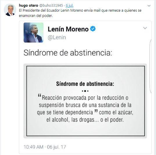 A quién le enviará ese mensaje el nuevo embajador Otero. Imagen: Twitter de Hugo Otero