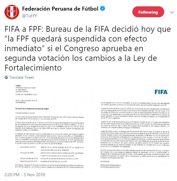 Dice la FPF que dice la FIFA que el Congreso se calme. Foto: Captura / Twitter
