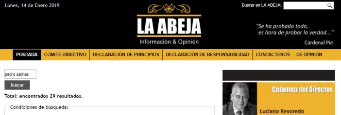 En La Abeja tienen hasta 29 notas sobre Pedro Salinas, en defensa del Sodalicio. Foto: Captura / laabeja.pe
