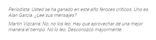 """""""Desconozco mayormente"""". Foto: Captura / La República"""