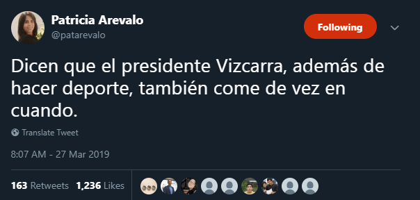 Fuentes uterinas revelaron que Vizcarra también toma una gran variedad de líquidos. Foto: Captura/Twitter