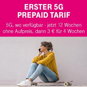 Erster 5G Prepaid Tarif +++ 5G, wo verfügbar +++ jetzt 12 Wochen ohne Aufpreis, dann 3 € für 4 Wochen