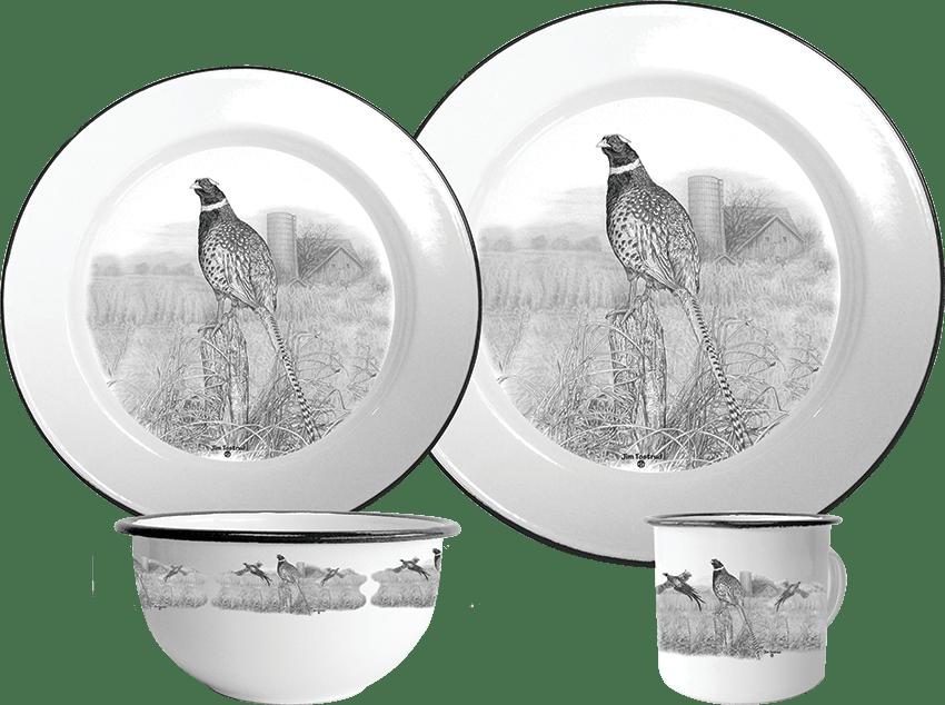 enamelware set with pheasants wildlife art dinnerware