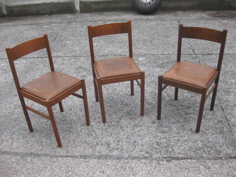tre sedie da cucina legno e pelle  UTILEUSATO